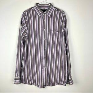 Express Mens Purple Long Sleeve Button Down Shirt